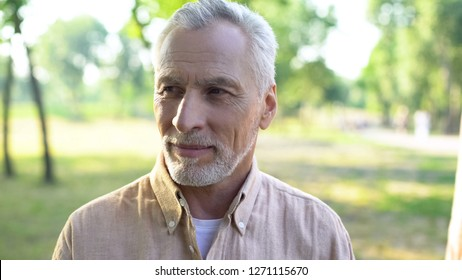 Handsome gray-haired man enjoying weekend in park, happy male pensioner outdoor
