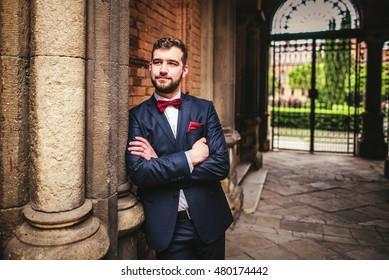 Handsome groom posing near old big columns