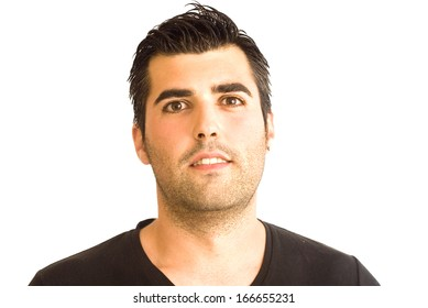 Handsome guy with black shirt on white background