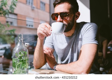 Handsome guy in coffee shop