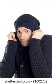 handsome guy in a dress and hat winter color blue on a white background