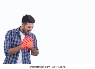Handsome guy heart attack isolate on white background,this has clipping path