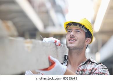 handsome hard worker people portrait at construction site
