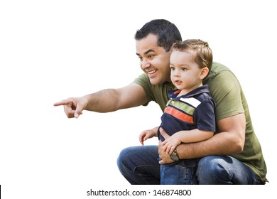 Handsome Hispanic Father Pointing With Mixed Race Son Isolated on White.