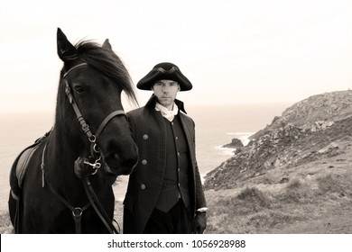 Handsome Horse Rider in regency, 18th century Poldark costume