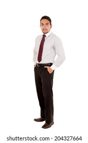 handsome latin man wearing a red tie fullbody isolated over white