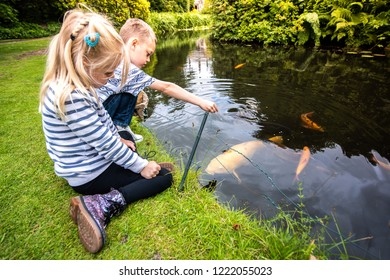A handsome little boy with ADHD, Autism, Aspergers syndrome feeds fish with his pretty little sister by a large pond, lake