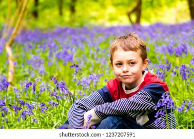 A handsome little boy with ADHD, Autism, Aspergers Syndrome sits and poses for a picture in a forest, woods covered in Bluebells, (Hyacinthoides non-scripta)