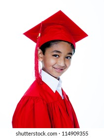 Handsome Little Graduate in Graduation Dress, Isolated, White