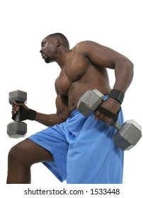 Handsome male with bulging muscles lifting weights.