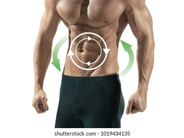 Handsome male caucasian sexy fitness shirtless model isolated on white background. The metabolism, healthcare, lifestyle concept. collage