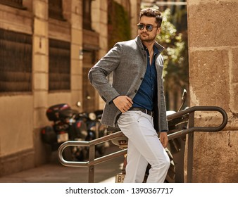 Handsome male model in fashionable clothes