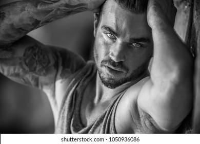 Handsome male model portrait in black / white