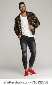 Handsome male model wear jacket and posing