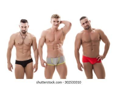 Handsome male models posing in studio