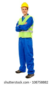 Handsome male repairman posing in style, full length portrait