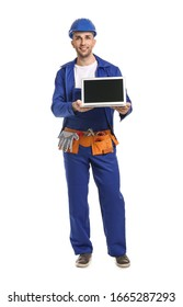 Handsome male worker with laptop on white background