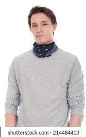 Handsome man in bandana on neck isolated on a white