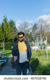 Handsome Man with beard in nature