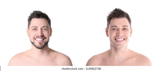 Handsome man before and after shaving on white background