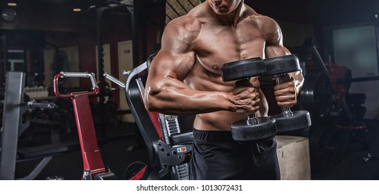 handsome man with big muscles trains in the gym, exercises for the development of the muscles of the hands, makes the lifting of dumbbells.