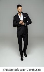 Handsome man in black classic suit
