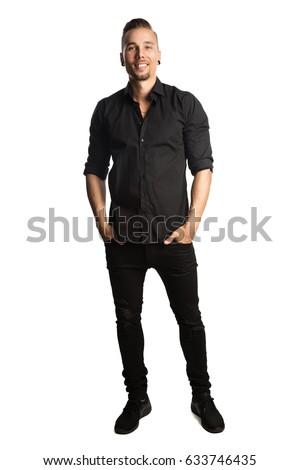 Handsome Man Black Shirt Black Jeans Stock Photo Edit Now
