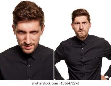 Handsome man in a black shirt makes faces, standing against a white background