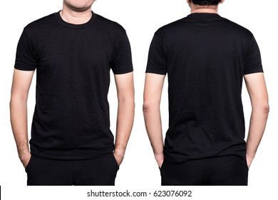 Handsome  man in a blank black t-shirt  isolated on white background.