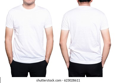 Handsome  man in a blank white t-shirt  isolated on white background.