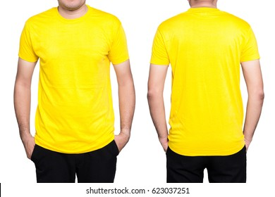 Handsome  man in a blank yellow t-shirt  isolated on white background.