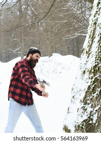 Handsome man or brutal lumberjack, bearded hipster, with beard and moustache in red checkered shirt cuts tree with axe in snowy forest on winter day outdoors on natural background