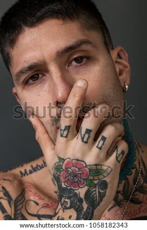e0b2d1c59 Handsome Man Closeup Portrait Tattooed Chest Stock Photo (Edit Now ...