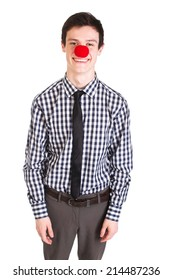 Handsome man in clown nose isolated on white
