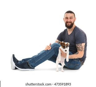 Handsome man with cute dog, isolated on white