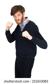 Handsome man doing different expressions in different sets of clothes: boxe