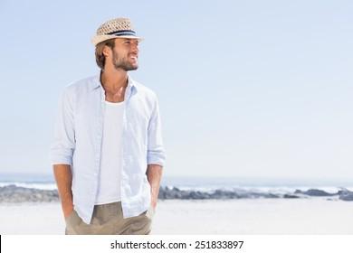 Handsome man enjoying the sunshine on a sunny day