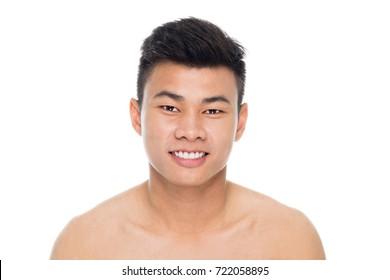 Handsome man face  close up portrait studio on white background
