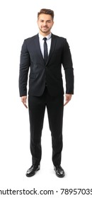 Handsome man in formal suit on white background