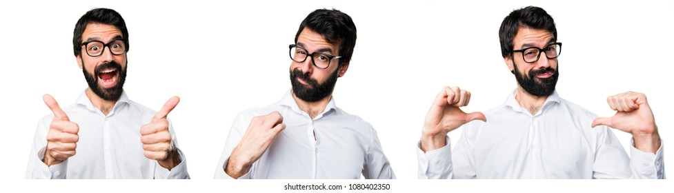 Handsome man with glasses proud of himself
