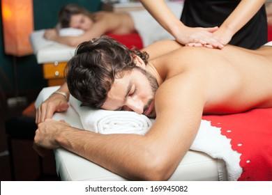Handsome man having a massage