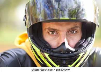 Handsome man in helmet