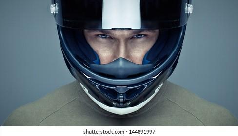 Handsome man in helmet on blue background