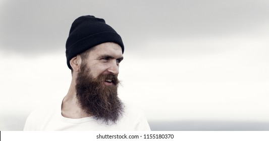 Handsome man hipster or guy with beard and moustache. Bearded man, lush beard, handsome brutal male, hipster. happy bearded man. Sexy male, macho.