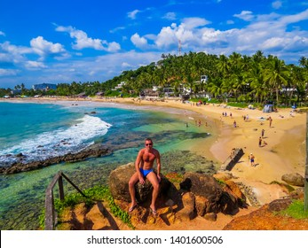 Handsome Man in Holiday in Mirissa Beach, Sri Lanka
