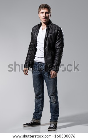 Handsome Man Leather Jacket Jeans White Stock Photo Edit Now