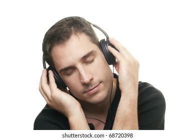 handsome man listening the music.
