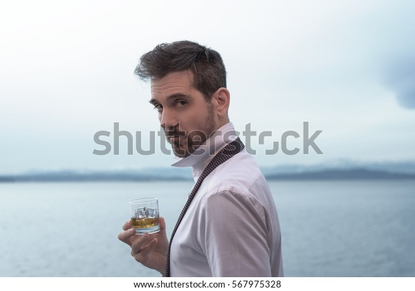 Handsome Man Mid Thirties Drinking Whiskey People Stock Image 567975328
