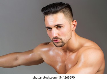 Handsome man or muscular macho, bodybuilder, with bristle, hairstyle, oily skin, sexy, muscle torso, body, with triceps, biceps poses on grey background