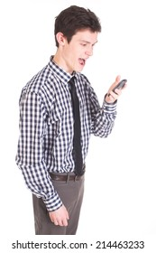 Handsome man with phone in shirt and tie isolated on white